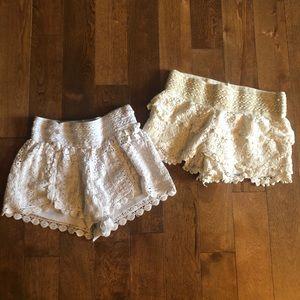 2 Brandy Melville Lace Shorts Bundle